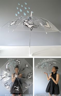 How adorable is this? Love this raining cats and dogs umbrella made with Sharpies.