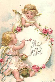 Angels Vintage New Year Postcard - Happy New Year 2019 Vintage Greeting Cards, Vintage Christmas Cards, Vintage Holiday, Vintage Postcards, Vintage Ephemera, Images Victoriennes, Vintage Happy New Year, Vintage Illustration, New Year Postcard