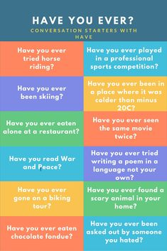 Practising asking and answering questions with have you ever, with lots of examples and a quiz English Lessons, Learn English, English Class, Ice Breaker Games For Adults, Icebreaker Activities, School Icebreakers, Elderly Activities, English Activities, Have You Ever Questions
