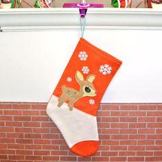 Retro Rudolph Deer Christmas Stocking in Orange by Allenbrite Studio