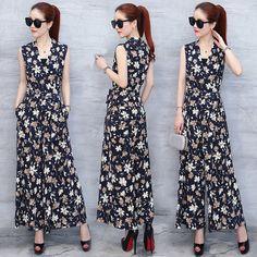 꽃 쉬폰 드레스 여성 2017 여름 새로운 얇은 슬림 민소매 옷을 빌려 넓은 다리 바지 샴 드레스
