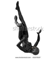 one young girl in a tight black super suit. In the fall. Back down. The face is not visible. 3D rendering, 3D illustration - stock photo