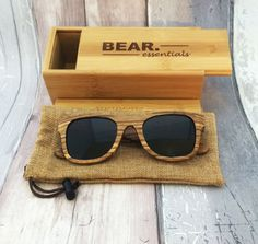 Bear Essentials Handcrafted Wooden Sunglasses - PolarBear - Zebrano Wood - Brown Lense