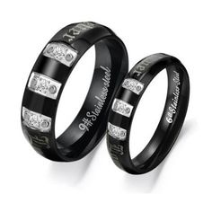 """Stainless Steel Triple Cubic Zirconia Gem """"Forever Love"""" Engraved Couple Rings Set for Engagement, Promise, Eternity R020 (His Size 7,8,9,10; Hers Size 5,6,7,8). Please Email Sizes Eeva' jewelry, http://www.amazon.com/dp/B008NOG1QM/ref=cm_sw_r_pi_dp_DH9sqb0Z6PXK1"""