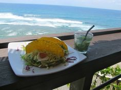 Fish tacos and mojitos at Single Fin, Uluwatu, Bali