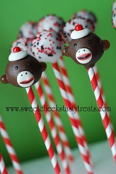 Sock Monkey Cake Pops...are you freaking kidding me?? I MUSSSSTTTT learn how to make these for my cubby's birthday...