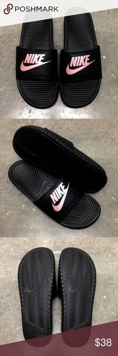 WMNS NIKE BENASSI SLIDES JUST DO IT JDI BLACK ROSE 680fd0ae08