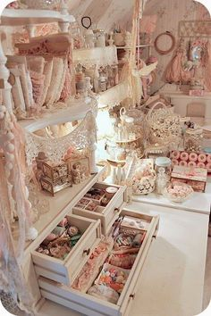 The dream craft room... Drawers and shelves everywhere and all sorts of inspiration!! So long as it's pastel pink and cream white ;)