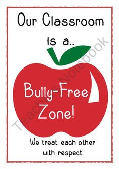 Bully-free zone poster from Little Learners- little hands and feet, big potential! on TeachersNotebook.com (1 page)