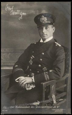 Original card of WWI submarine ace Captain Otto Weddigen, who achieved instant fame at the start of WWI when his UBoot, the sank three British cruisers at the start of the war, giving a huge impetus to the German Navy's shift to submarine warfare. Wilhelm Ii, Kaiser Wilhelm, World War One, First World, Vintage Photographs, Vintage Photos, German Submarines, Global Conflict, Bad Picture