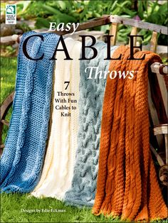 Easy Cable Throws Knitting Pattern Book Download from e-PatternsCentral.com -- Come and join the fun and satisfaction that knitters gain when they succeed in knitting their first cable.
