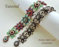 TWIN DIAMONDS beaded bracelet beading tutorials by PeyoteBeadArt