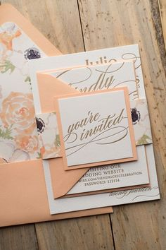 CYNTHIA Suite Floral Package, peach, gold, watercolor, letterpress, wedding invitations, floral
