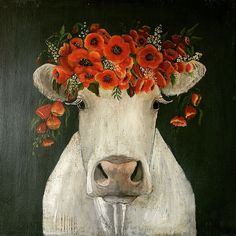 My artwork, cow and the poppies. Art And Illustration, Illustrations, Cow Painting, Painting & Drawing, Animal Paintings, Animal Drawings, Deco Champetre, Cow Art, Whimsical Art
