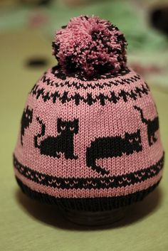 hat with cats - Hat knitting patterns - Knitted Hats Kids, Baby Hats Knitting, Fair Isle Knitting, Baby Knitting Patterns, Loom Knitting, Free Knitting, Crochet Hats, Knit Crochet, Knitting For Beginners