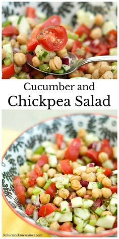 An easy healthy chickpea salad recipe, Cucumber cuand Chickpea Salad, served with Citrus, tossed with plump garbanzo beans in a lemon-lime vinaigrette. Garbanzo Bean Recipes, Chickpea Salad Recipes, Cucumber Recipes, Veggie Recipes, Side Dish Recipes, Diet Recipes, Cooking Recipes, Healthy Recipes, Cucumber Onion Tomato Salad Recipe