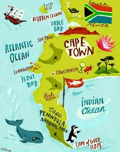 Items similar to Map Illustration Art Print of Cape Peninsula Cape Town South Africa on Etsy South Afrika, Namibia, Cape Town South Africa, South Africa Art, Wanderlust, Africa Travel, Africa Map, Primates, Vintage Travel Posters