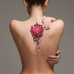 Cool watercolor lily long back tattoo ideas for women - pink floral flower lotus spine tat Delicate Flower Tattoo, Lotus Flower Tattoo Design, Beautiful Flower Tattoos, Flower Tattoo Back, Small Flower Tattoos, Small Tattoos, Tattoo Flowers, Tattoo Bicep, Temp Tattoo