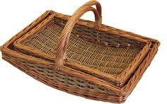 Set of 2 Boat Garden Trugs Garden Basket, Wicker Tray, Hamper, Boat, Trays, Red, Acrylic Nails, Opportunity, Manual