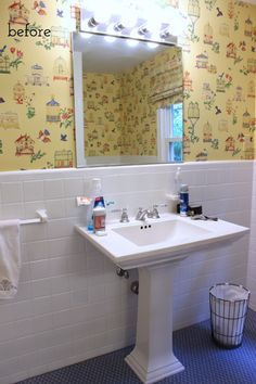 And Finally. The Bathroom Reveal! - Driven by Decor Painting Ceramic Tile Floor, Painting Bathroom Tiles, Ceramic Tile Floor Bathroom, Tile Floor Diy, Painting Tile Floors, Bathroom Flooring, Paint Tiles, Bathroom Makeovers On A Budget, Budget Bathroom