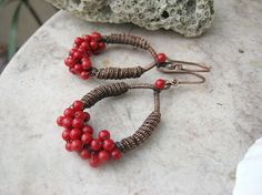 red coral earrings in copper by EdisLittleTreasures on Etsy, $38.00  http://www.etsy.com/listing/89992556/red-coral-earrings-in-copper?ref=v1_other_1