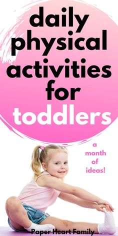 A super fun 30 day physical activity challenge for toddlers. Each day, your child will master a new physical skill and can receive a printable badge, too! Physical Activities For Preschoolers, Gross Motor Activities, Infant Activities, Preschool Activities, Toddler Development, Physical Development, Language Development, Toddler Exercise, Toddler Play