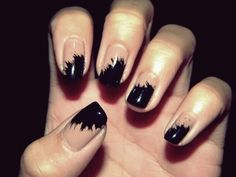 Messy take on French manicure -- OOh. As soon as my nails grow a bit, I will try this.