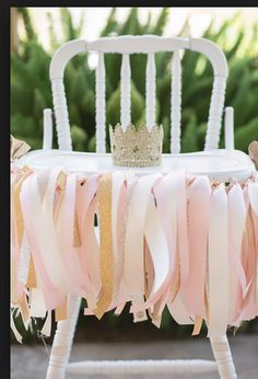 Pink and gold ribbon garland vintage highchair Vintage Glam Princess Birthday Party via Kara's Party Ideas Vintage Birthday Parties, Tea Party Birthday, Gold Birthday, First Birthday Parties, Birthday Ideas, 1st Birthday Princess, Baby Girl First Birthday, Princesse Party, Pumpkin Patch Party