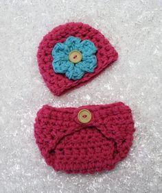 Hot Pink Newborn Diaper Cover And Hat Set