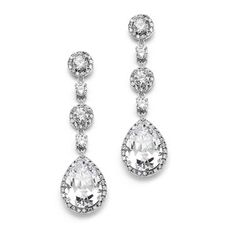 Mariell's best-selling bridal earrings feature pave framed rounds which dangle into a brilliant pear-shaped drop. This silver, gold, or rose gold rhodium plated wedding earring measures 2 h and has a matching pendant sold separately Prom Earrings, Prom Jewelry, Round Earrings, Wedding Earrings, Teardrop Earrings, Crystal Earrings, Clip On Earrings, Wedding Jewelry, Silver Earrings