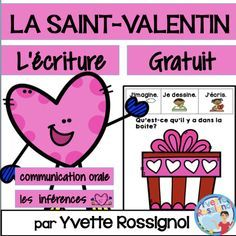 This FREE resource is similar to the 100 prompts in this best seller BUNDLE: 100 French Writing Prompts (Paperless or interactif notebook) Teaching French Immersion, Communication Orale, Valentines Illustration, Core French, Saint Valentine, Valentine Nails, French Classroom, Valentines Day Activities, How To Speak French