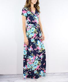 Look what I found on #zulily! Navy Floral Maxi Wrap Dress #zulilyfinds