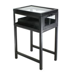 homart+curio+iron+side+table,+black+waxed+-+The+clean,+architectural+lines+of+the+metal+framed+and+glass+enclosed+Curio+Tables+allow+the+contents+of+each+case+to+take+the+spotlight.+Each+Curio+Table+comes+fully+assembled+with+a+pull+out+drawer+and+hinged+top+for+ease+of+display+and+augmenting+your+curating+potential.+