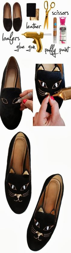 How To Paint Kitty in Your Loafers Such loafers are really distinctive and non-standard. You need a piece of leather, a glue gun, p...