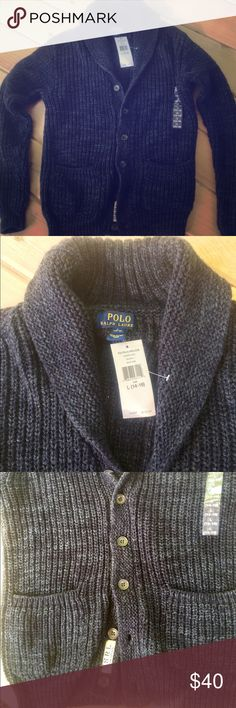 Boys NWT Polo Ralph Lauren Cardigan NWT Boys Polo Ralph Lauren 100% Cotton Sweater. Knitted Indigo Raglan Cardigan Style. (No Itch). Boys Size L (14-16). Two Front pockets, 6 Buttons to wear open or closed. Never worn. Polo by Ralph Lauren Shirts & Tops Sweaters