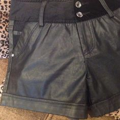 Shorts Black Leather Shorts with cute embellishments. New without tags, never worn. Other