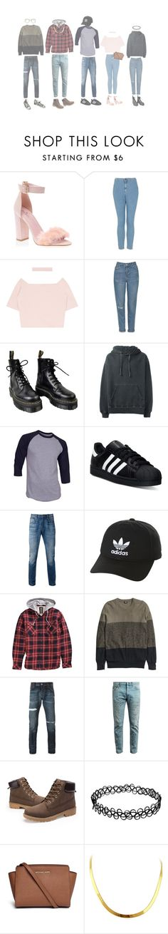 """""""modern day breakfast club"""" by chaoticcamryn ❤ liked on Polyvore featuring Topshop, Dr. Martens, adidas Originals, adidas, Levi's, Billabong, H&M, Philipp Plein, Gucci and Converse"""
