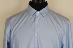 Charles Tyrwhitt Non Iron Extra Slim Fit Mens Long Sleeve Shirt Sz 17 Blue #CharlesTyrwhitt