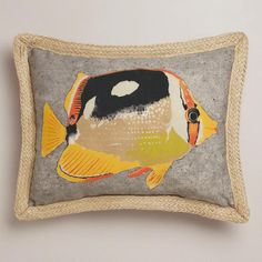 One of my favorite discoveries at WorldMarket.com: Butterfly Fish with Jute Outdoor Lumbar Pillow