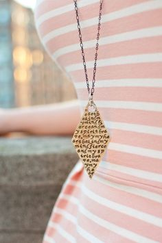 May my heart be kind, my mind fierce, and my spirit brave - quote necklace