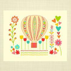 Hot Air Balloon- FLORAL- Kids Wall Art, Nursery art, Baby Girl Nursery on Etsy, $14.00