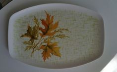 Mid Century Melmac Melamine Autumn Leaves Serving Platter Allied Chemical 13 x 9