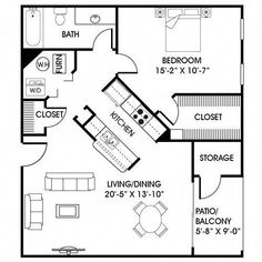 I like how the space surrounds the kitchen and allows ease of access to other areas of the plan. The Plan, How To Plan, Living Haus, Tiny House Living, Small Living, Living Spaces, Tiny Spaces, Small Apartments, Small House Plans