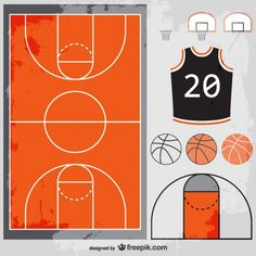 Basketball vector set free download