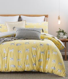 The perfect playful style for any bedroom, the Misty Cats quilt cover captures the essence of these adorable animals. Made from cotton in a mustard yellow hue, various cats in grey and stone lazily stroll, sleep and sit to create this statement design. Mustard Bedding, Linen Bedding, Comforter, Bedroom Retreat, Bedroom Inspo, Bedroom Ideas, Double Quilt, Yellow Quilts, Single Quilt