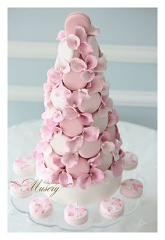 Petals of pink macaron tower :cherry_blossom: #wedding #cookie #inspiration