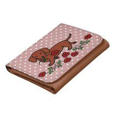 Dachshund and a flower cartoon wallet.  Dachshund artwork by Naomi Ochiai.  #dachshund #doxie #wallet
