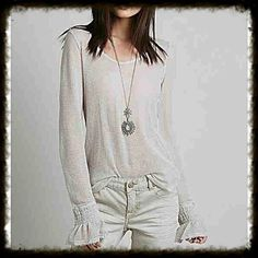 Free People Intimately Free Ballerina Layering Top Sheer long sleeve in light tan color. Super cute Ali e for an awesome layering piece. Worn once. I have a few of these now as I love them so deciding to let this one go, in excellent like new cond size small Free People Tops Tees - Long Sleeve