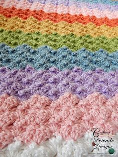 Crafting Friends Designs: Peaked Shell Afghan Crochet Pattern