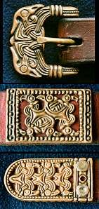 Norse era belts were leather, and considerably narrower than belts later came to be. Surviving buckles and strap ends tell us that 2cm (3/4 inch) was about the widest belt commonly used.